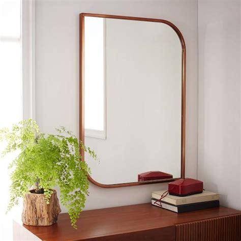 rose gold metal framed floor mirror