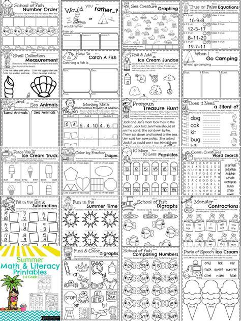grade summer worksheets planning playtime