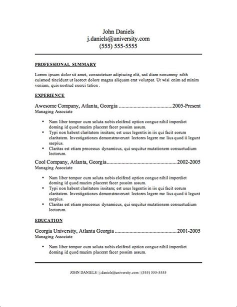 Free Resume Outlines by My Resume Templates