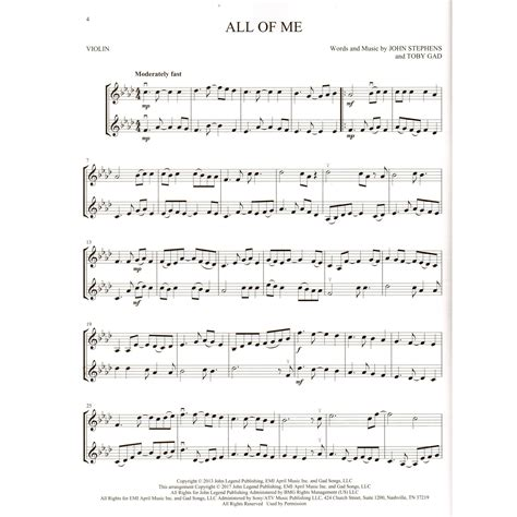 Our collection contains different printable violin music sheets for all ages. Pop Hits for Violin Duet - Hal Leonard   SHAR Music - sharmusic.com
