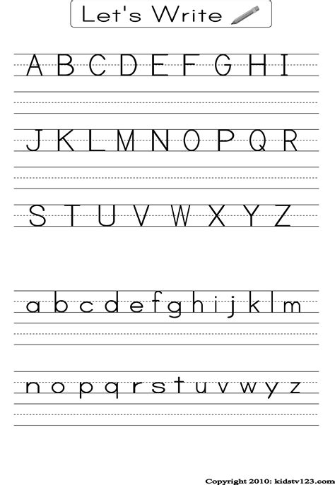 alphabet writing practice sheet  fun writing