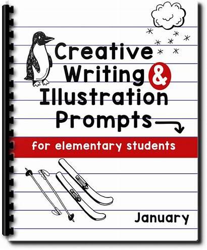 Writing Creative Prompts January Illustration Elementary Students