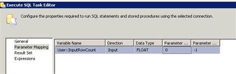 ssis execute sql task error  parameters stack overflow