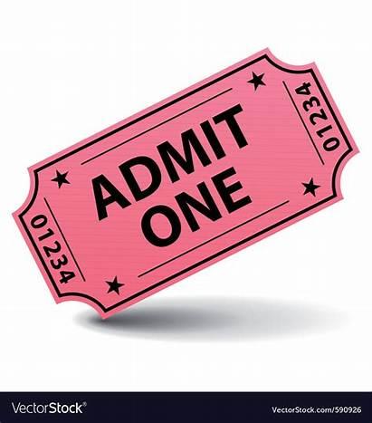 Ticket Admit Clipart Pink Tickets Cartoon Vector