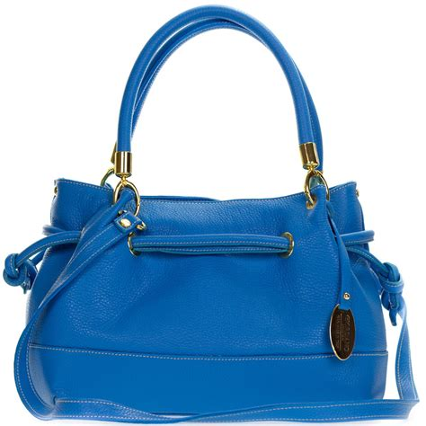 giordano italian  blue leather drawstring satchel handbag