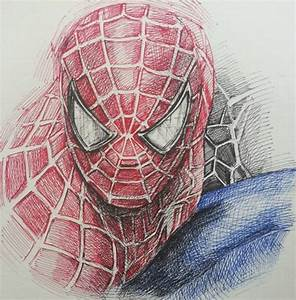 Drawn spider-man pencil drawing - Pencil and in color ...