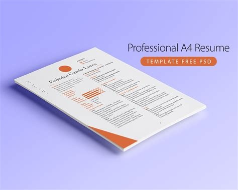 professional a4 resume template free psd at