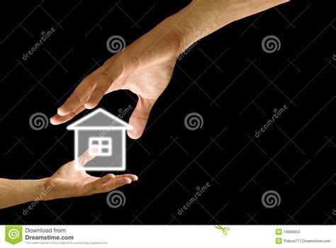 big hand give  house icon  small hand stock