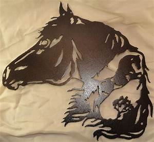 Horse with metal wall art home decor