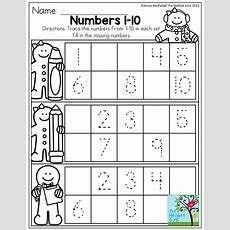 Numbers 110 Trace The Numbers And Fill In The Missing Numbers For Each Tens Frame Just Print