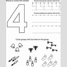 Number Four Worksheet  Free Preschool Printable  Cc General (classical Conversations