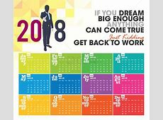 Colorful 2018 Calendar Easy to Edit Vector CDR Ai EPS