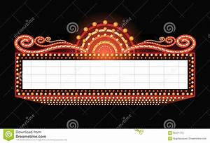 Brightly theater glowing retro cinema neon sign stock for Theatre sign clipart