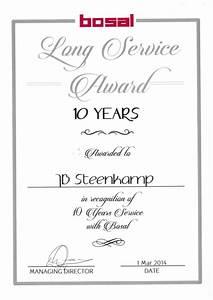 long service certificate template sample - 10 years long service award