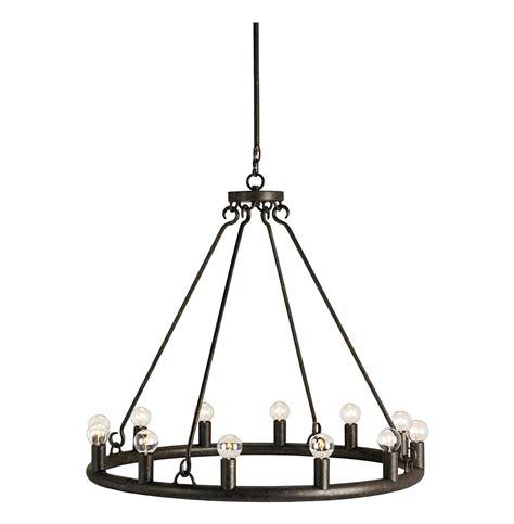 brandon black wrought iron modern bulb circular 12 light
