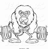 Coloring Cartoon Lion Fitness Weightlifting Weight Lifting Health Drawing Vector Printable Outlined Strength Leishman Ron Barbell Royalty Getdrawings Activities Clipart sketch template