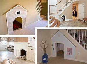 Under the stairs indoor dog house pet sitter dog for Indoor dog house with stairs