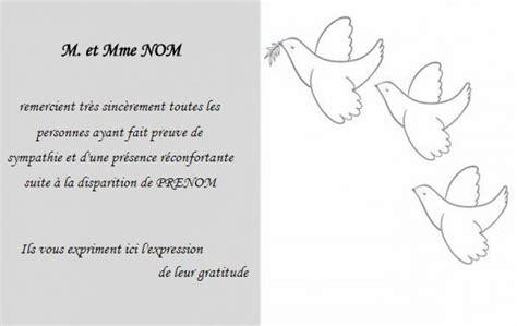 modele carte remerciement deces carte de remerciement d 233 c 232 s pas ch 232 re mod 232 le gratuit