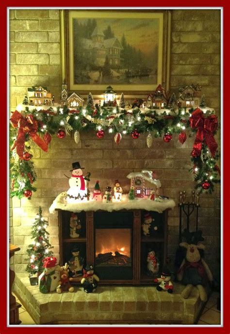 christmas mantel snow village christmas village garland