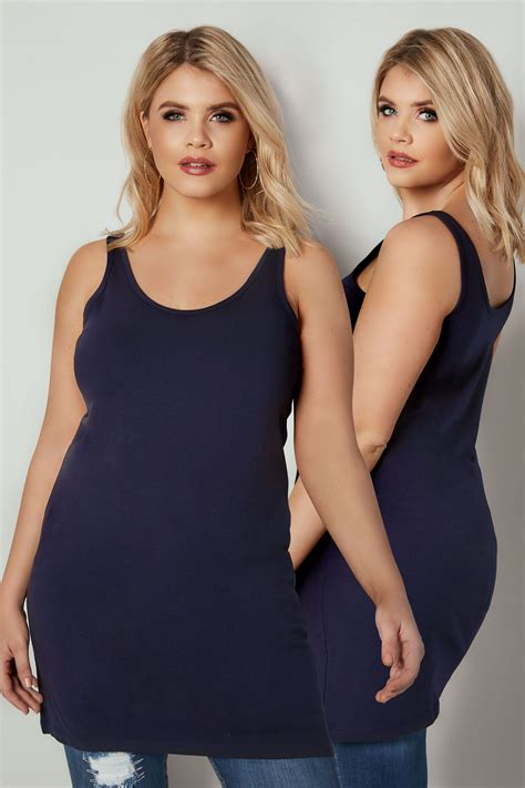 navy longline vest top  size