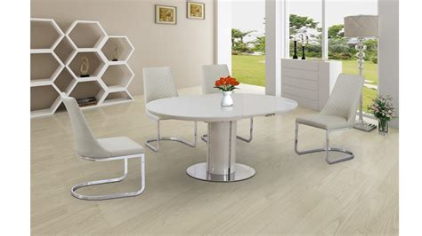 high glass dining table extending round cream high gloss glass dining table and 4