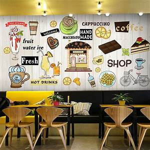 photo wallpaper 3d dessert pizza snack mural snack bar With what kind of paint to use on kitchen cabinets for wall art 3d wallpaper
