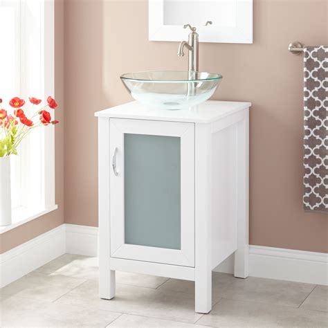 """Vessel sink vanities are the preferred bathroom cabinet sets for the discerning homeowner who wants to make a unique statement in her bathroom. 19"""" Claxton Vessel Sink Vanity - White - Bathroom"""