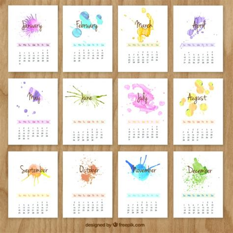 hand painted calendar watercolor splashes vector