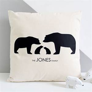 Bear Family, Personalised Silhouette Cushion Cover ...