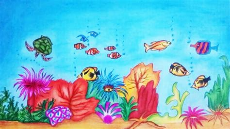 draw underwater scene step  step underwater