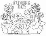Bed Coloring Flower sketch template