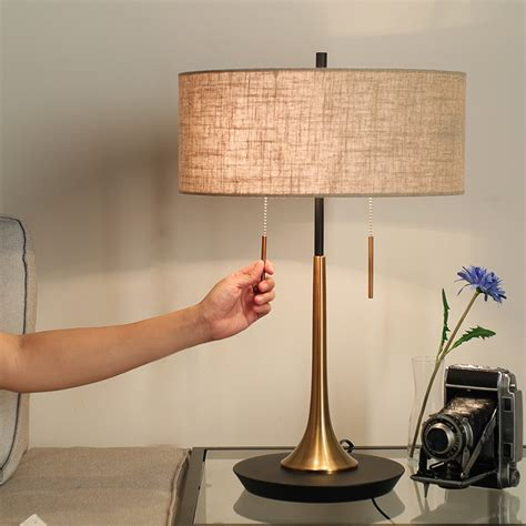 bedroom table lamps contemporary double pull switch modern metal led table lamps for 14438   Double Pull Switch Modern Metal Led Table Lamps For Bedroom Living Room Bedside Linen Shade Desk