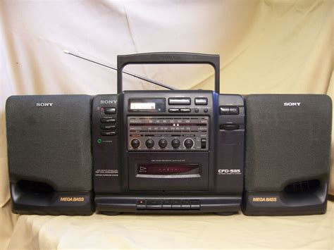 sony cfd 535 portable stereo cd boombox cassette am fm vintage radio detach spkr ebay