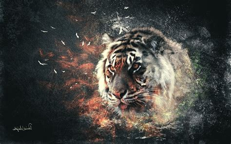 Digital Tiger Wallpaper by Tiger Digital Abstract Wallpapers Hd Desktop And