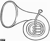 Instrument Horn Coloring Wind Hoorn Een Kleurplaat Printable sketch template