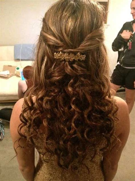 cute curly half up hair for prom hairstyle idea hair in