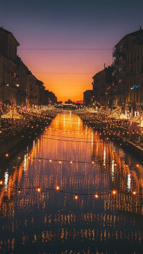 milan city river night lights celebrations