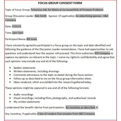 downloadable focus group release form