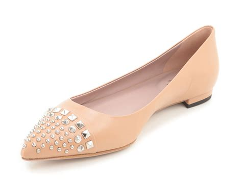 Ballet Flats Shoes : Gucci Studded Camellia Leather Ballet Flats Loafers Shoes