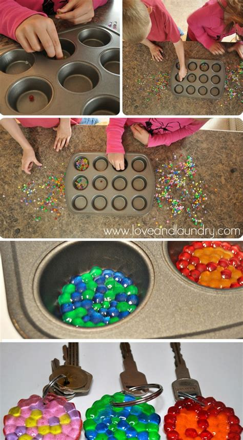 melted bead keychains kids crafts diy