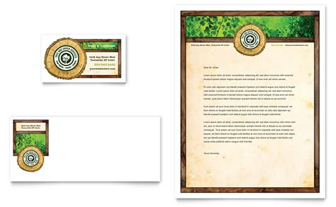 tree service business card letterhead template word