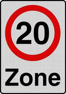 20 Zone Reflective Road Sign