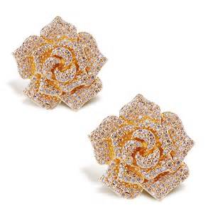 design of gold earrings ear tops flower earrings top quality cubic zircon women flower