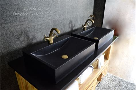 mm black granit stone bathroom basin pegasus black