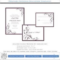 free wedding invitation sles wedding invitation templates aubergine eggplant printable kits