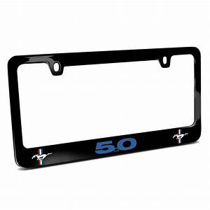 Ford Mustang GT 5.0 in Blue Dual Logos Black Metal License Plate Frame Made in USA - Car Beyond ...