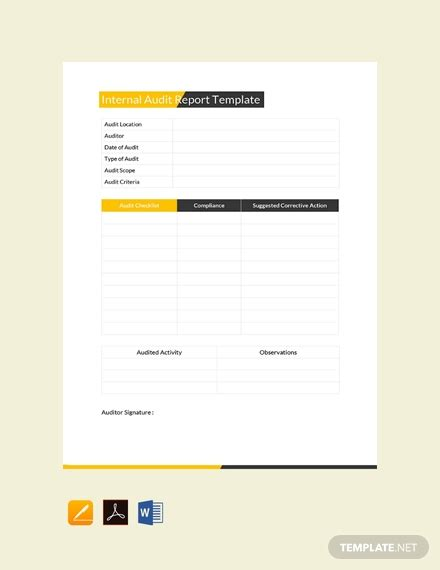 internal audit report template   reports