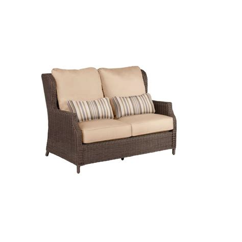 keter corfu charcoal all weather patio loveseat with grey