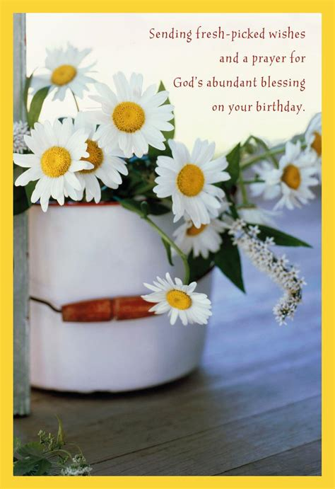 bucket  daisies religious birthday card greeting cards