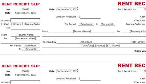 dual type rent receipt template  excel templates